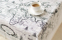 Table Cloth for 1pc HT3 in high quality Cotton Linen with World map pattern for home kitchen restaurant and dining decoration