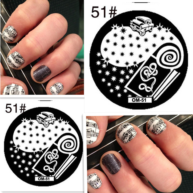 1PCS Car Design Nail Art Stamp Stamping Template Plate Note Pattern Nail Stamping Plate Round Nail Tool 5.5*5.5cm(China)