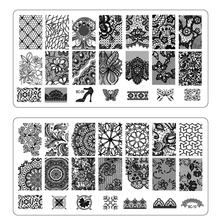 1pcs NEW Lace Flowers Nail Art Stamp Stamping Image Plate 6*12cm Stainless Steel Template Polish Manicure Stencil Tool LABC01-20
