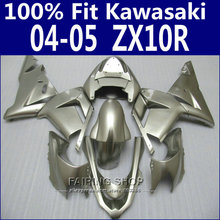 Injection mold For Kawasaki Ninja Fairings Zx10r 2004 2005 04 05 ( Pure silver ) Fairing kit EMS free x66