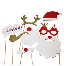 8pcs/set Christmas Photo Booth Props DIY Kit for Party Supplies Featuring Glasses Moustache Deer Horn Santa Hat(China)