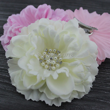 "4.3"" Peony flower with Bling Rhinestone pearl hair clip Brooch layered Gorgeous flower hair Accessories hair bows 24pcs/lot"