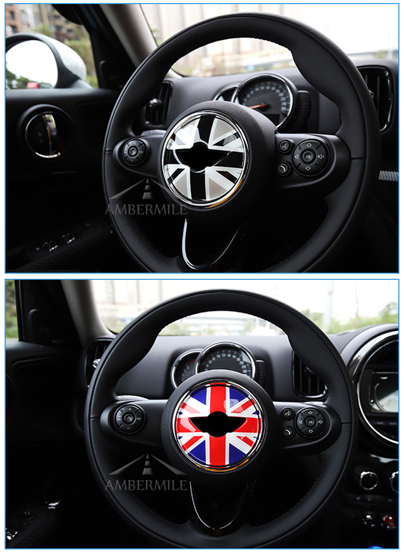 3D Car Steering Wheel Center Stickers Covers Interior Decorations for MINI Cooper JCW F55 F56 Accessories Car Styling (7)