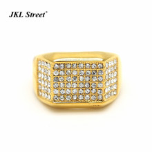New 2017 Stainless Steel Gold Chunky Ring Iced Out Hip Hop Wedding Engagement Bling MICROPAVE CZ Pinky Mens Band  Ring Size 7-12