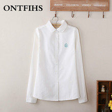 New  Fashion Swan Embroidered Shirts White Blue Oxford Blouses Shirts Long Sleeve Formal Pure Color Women Casual Shirt M-XXL