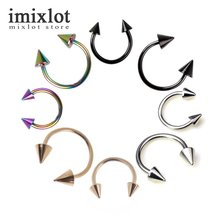 2pc Cone Spike Horseshoe Circular Ring 316L Surgical Steel Labret Nipple Hoops Nose Septum Eyebrow Piercing Body Jewelry 18g(China)