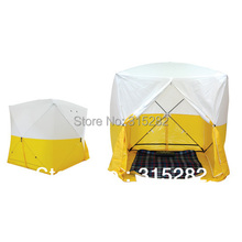 Engineer working  tent  outside Welding construction tent
