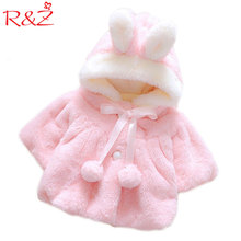 R&Z Baby Infant Girls Fur Winter Warm Coat 2017 Cloak Jacket Thick Warm Clothes Baby Girl Cute Hooded Long Sleeve Coats Jacket(China)