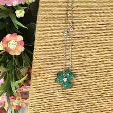 BM53 Cute Green Color Zircon Clover Flower Collar Necklace 925 Sterling Silver Necklace Clover Party Elegant OL Wedding Jewelry(China)