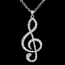 Lucky Overflow 2017 Hot Simple Fashion Hollow Musical Note Shaped Pendant Metal Necklace Music Jewelry Gold Silver Special Gift(China)