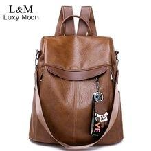 91ea15d1b6 Brown Women Backpack Leather School Bags For Teenage Girls Casual Large  Capacity Multifunction Retro Travel Rucksack