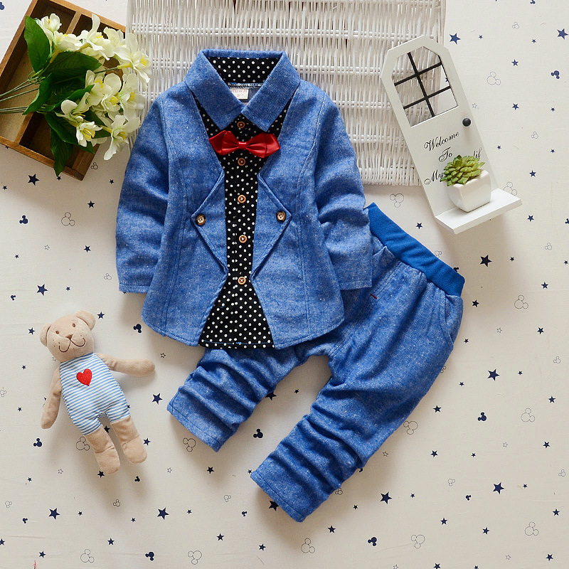 2018 Baby Set Outfit gentleman automneToddler T-shirt pants overall outfits 3M-2Y kids jackets coats baby boy clothes<br>