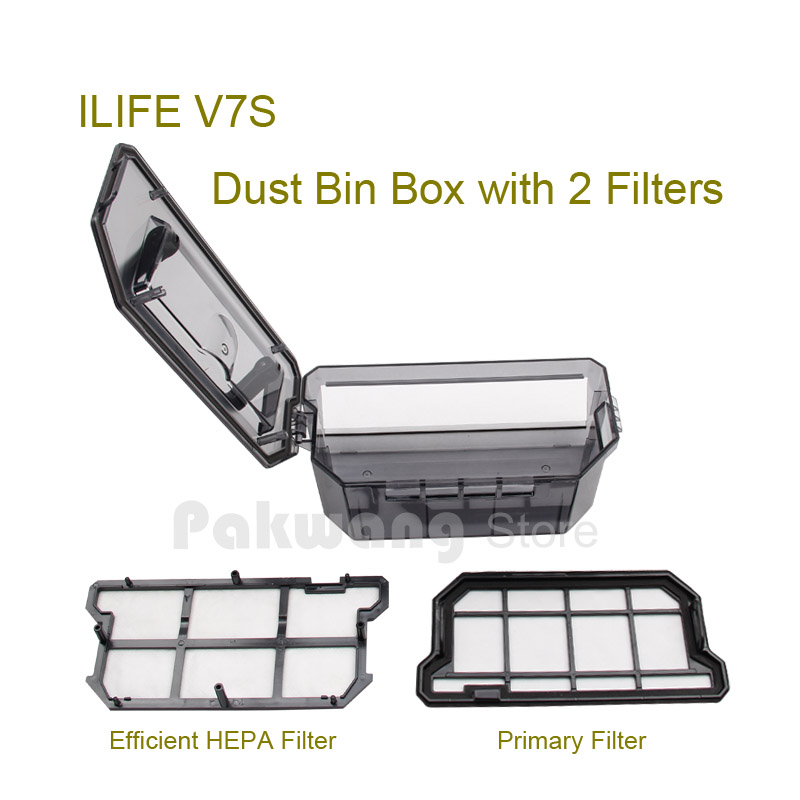Original ILIFE V7S Dust bin box 500ml with 2 filters Robot Vacuum Cleaner Spare parts from the factory<br><br>Aliexpress