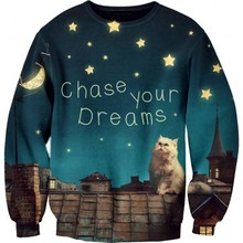 Sky roof tiles, Galaxy. Cat chase your dreams' Print Sweatshirt Women/Man Casual Hot Sale Hoodies Fashion Funny Unisex Tops(China)