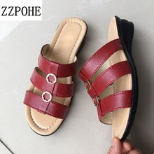 ZZPOHE 2017 Summer new Woman slippers middle-aged flat Women Comfortable slippers slope leisure large size mother slippers 41 42(China)