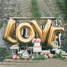 1Set 40inch Letter LOVE Shape Balloons Metallic Colorful Foil Mylar  Helium Balloons for Birthday Wedding Party Decoration 2017