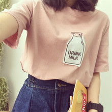 Cute Harajuku Women T Shirt Short Sleeve T-Shirt Drink Milk Kawaii Brand Cotton Tee Shirt Pink Top Loose Tshirt S-3XL 32618