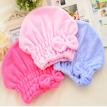 1PCS Fashion Women Shower Caps Women Absorbent Bath Cap High Quality Bowknot Dry Microfiber Hats for Baths And Saunas(China)