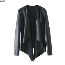 2 Colors PU Leather Waterfall Front Wide Lapel Jacket Autumn Women Long Sleeve Clipping Hem Brief High Street Style Coat(China)