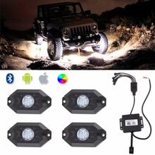 4pcs RGB LED Rock Light Kits with Bluetooth Phone Control Color Grad Multicolor Neon Lights Under Off Road Truck SUV Car Boat