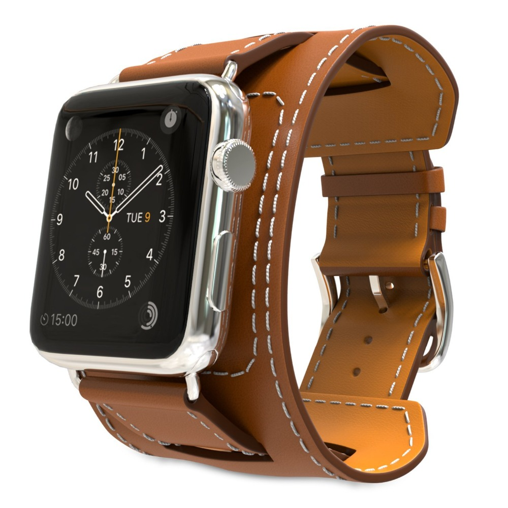Genuine Leather Band For Apple Watch Band 42mm Bracelet Leather Blue Watchband Cuff With Adapter for iWatch Strap  38mm Brown<br><br>Aliexpress