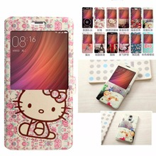 Redmi Note 4 case cover flip leather luxury Window View funda 5.5 inch Xiaomi Redmi Note 4 coque Hello Kitty Totoro Eiffel Tower