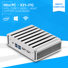 XCY Mini Industrial PC i7 4500U 1.8GHz Desktop Computer 2*RS232 Com 2*Lan  Aluminium Alloy  Design Office Computer