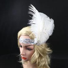 White Crystal Sequins Ostrich Feather Headpiece Vintage Headband Flapper Free Shipping