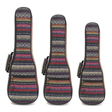 21 23 26 Inch Double Strap Hand Folk Canvas Ukulele Carry Bag Cotton Padded Case For Ukulele Guitar Parts & Accessories(China)