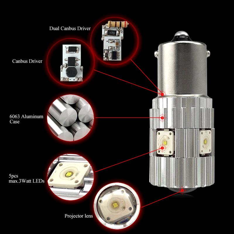 CNSUNNYLIGHT 2pcs 1156 LED BA15S P21W BAU15S PY21W S25 5Osram Chips 6000K White DRL Car Tail Fog Bulbs Brake Light Reverse Lamp (1)