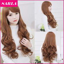 1PC Women Long Wavy Wigs With Side Bang High Temperature Fiber Korean Full Head Cosplay Wig Brown Send Wig Cap as Gift LW037
