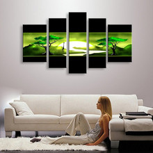 5 Panel Wall Art Pictures Hand Painted Natural Scenery Landscape Oil Painting Green Acrylic Tree Paintings Sets Home Decoration