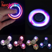IWObabe Long Time Powerful Hand Spinner LED Aluminum Fidget Spinner Flash Light Hand Finger Focus EDC Stress Toys Kids Adults(China)