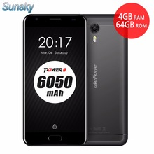 "Original Ulefone Power 2 6050mAh 4GB RAM 64GB ROM Android 7.0 Smartphone MT6750T Octa Core Touch ID 5.5"" 16.0MP 4G Mobile Phone(China)"