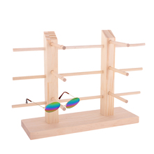 Natrual Wood Sunglasses Dispaly Holder Glass Display Stand Removable Pine Display Rack (2 row 1/2/3 Layer) DIY Jewelry