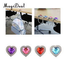 MagiDeal Portable Heart Rhinestones Folding Handbag Hanger Desk Table Hook Holder Handbag Decoration Girls Gift(China)
