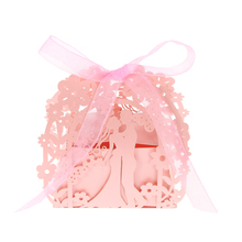 50pcs/set Mini Laser Cut Wedding Candy Box Pearl Paper Kiss Pattern Hollow Out Gift Box Wedding Favor Valentine EngagementParty