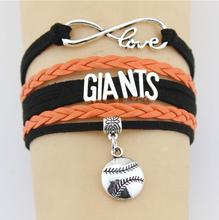 Fashion Infinity Love San Francisco Giants MLB Team Bracelet DIY Sports Charm Bracelet & Bangles for Baseball Fans Jewelry