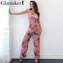Buy Glamaker Flower halter backless jumpsuit romper Women stripe loose summer jumpsuit long playsuit Bohemia beach sexy jumpsuit