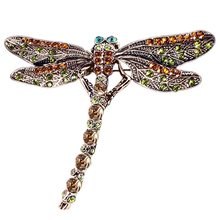 New Fashion Jewelry Women's Vintage Retro Noble Dragonfly Rhinestone Crystal Scarf Pin Brooches Party Gifts Wholesale 88E9