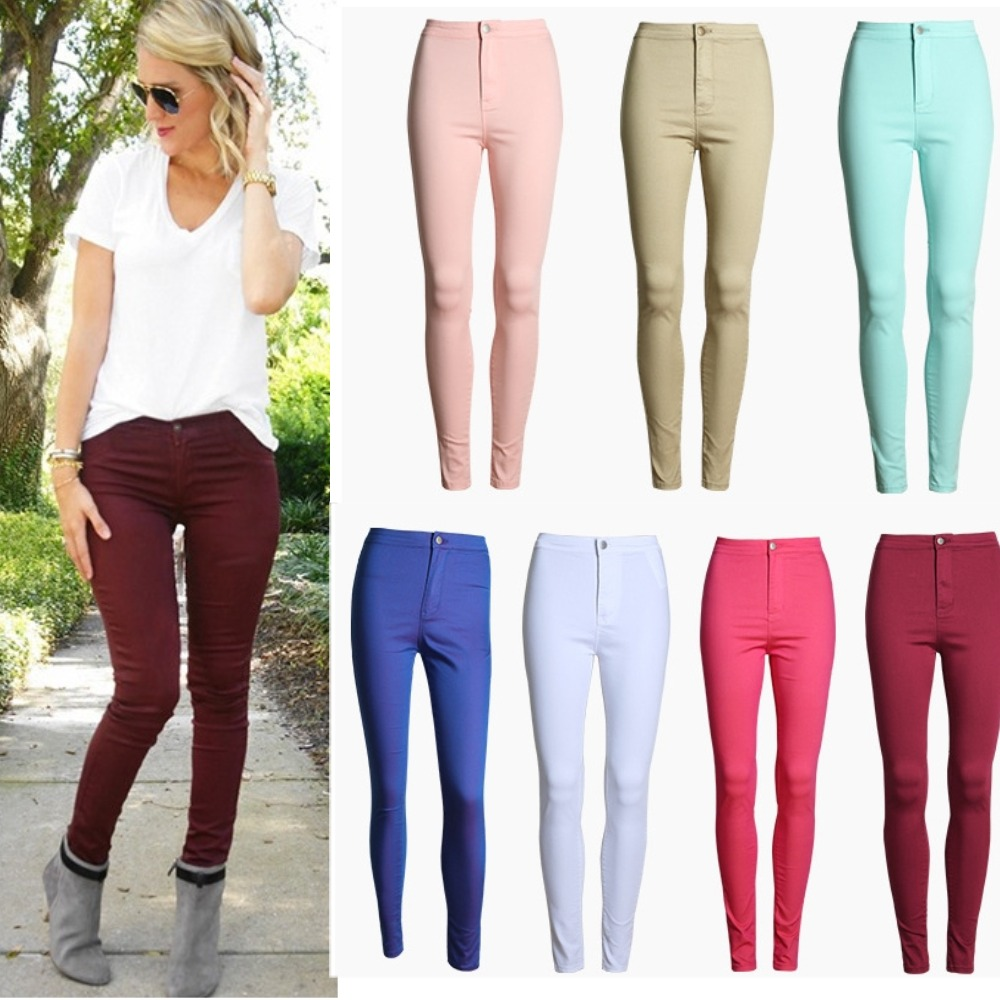 New Fashion Women Girls Vintage High Waist Classic Candy Colour Skinny Pencil Denim Pants Trousers Jeans JeggingsОдежда и ак�е��уары<br><br><br>Aliexpress