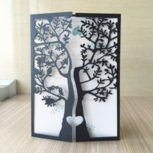 30pcs/lot wedding party decoration paper craft laser cut love tree wedding invitation card various colors QJ-178