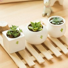 Free shipping 1PCS Gardening Mini ceramic Flower Pot Vase circular Bonsai Planter Nursery Seedling pot with&seed garden supplies