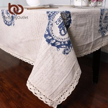 BeddingOutlet Blue Crown Tablecloth Dinner Table Cloth Cotton Linen Rectangular Lacy Table Cover Macrame Home Decor Europe Hot(China)