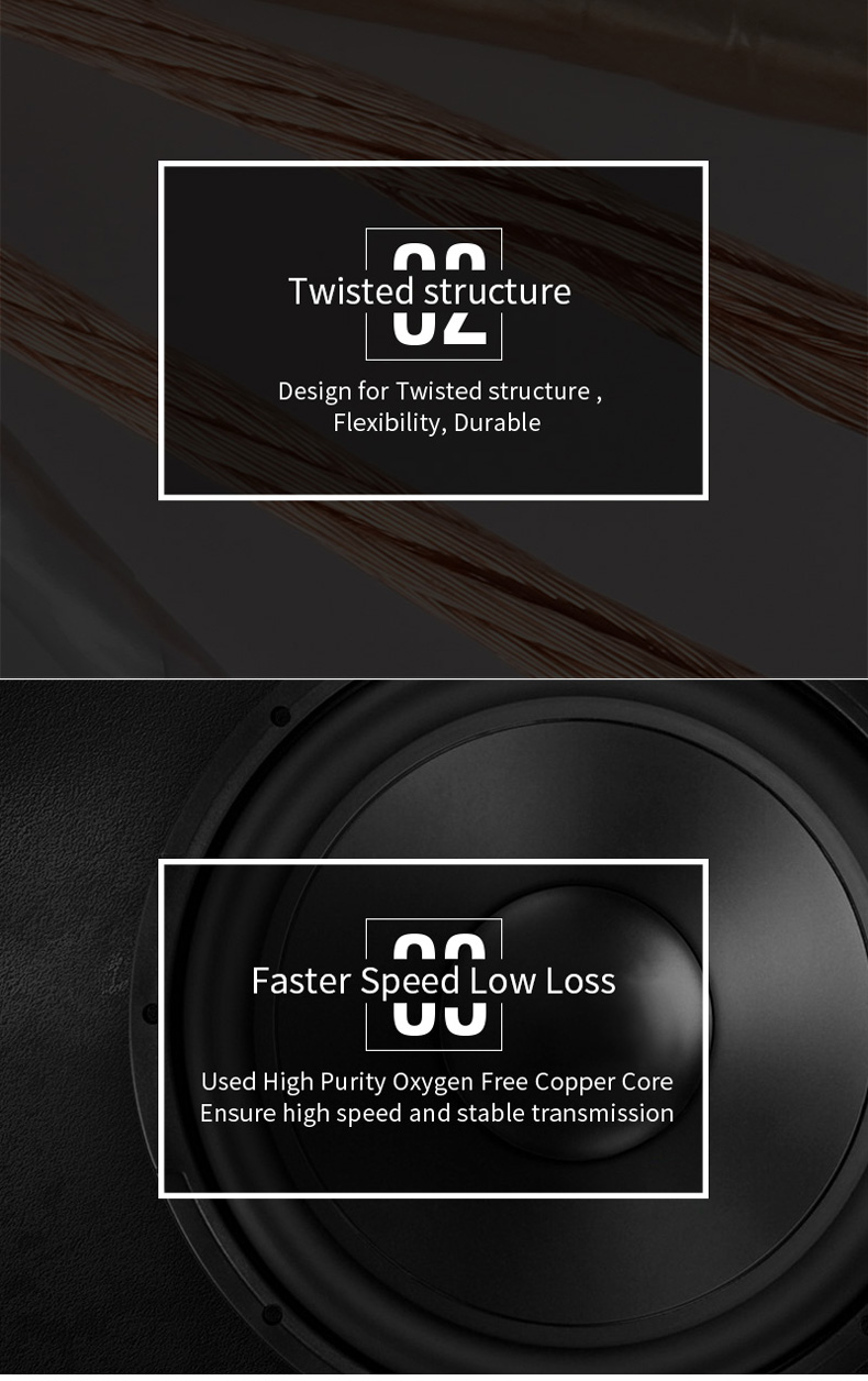 CHOSEAL DIY HIFI Audio Cable  Oxygen Free Pure Copper Speaker Cable for Car Audio Home Theater Speaker Wire Soft Touch Cable (4)