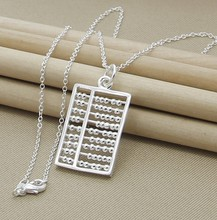 Hot Promotion silver  necklace Fashion abacus Locket Necklace Pendant Necklace Hot 18inch 925 jewelry