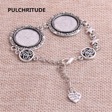 PULCHRITUDE 3pcs 22cm Alloy Antique Silver Chain Bracelet Hand Charm Round Cabochon base Setting Fit 20mm Dia Women Z0029