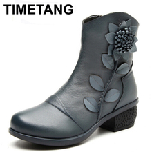 TIMETANG New Women's Fashion Winter Warm Genuine Leather Ankle Boots Women Oblique Zipper Floral Boots for Women Red Black Blue