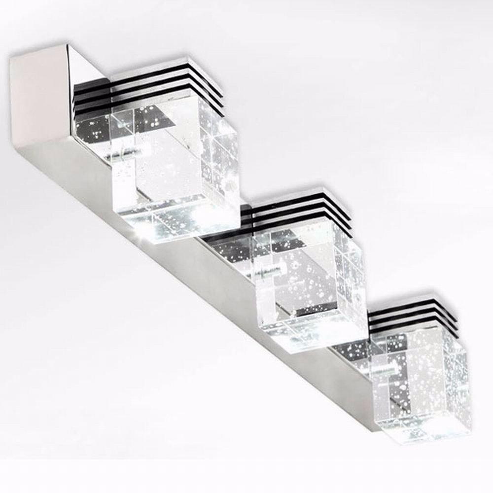 Crystal ledmirror light bubble crystal stainless steel bathroom mirror - Modern Brief Design 3w 6w 9w Led Crystal Mirror Mirror Stainless Steel Headlight Bathroom