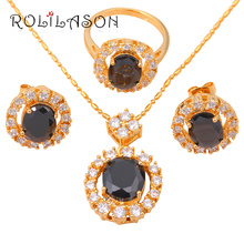 Zirconia Women wedding  Gold Tone Earring Necklace Fashion Jewelry Sets Ring Black Onyx Crystal Health Sz # 7 JS272